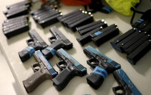Glock semi-automatic pistols modified to shoot Simunition non-lethal training ammunition are ready for an Active Shooter Response course offered by TAC ONE Consulting in Denver April 2, 2016. REUTERS/Rick Wilking